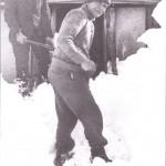 Barney shovelling snow (MR)