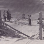 Corral with skiers 1948